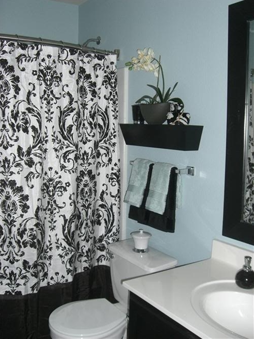 bathroom decor idea for an ugly all white apartment bathroom | See more about bathrooms decor, apartment bathrooms and shower curtains.