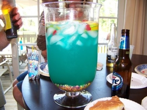 Fish Bowl Recipe.    Fish Bowl (or improvise)  1/2 cup Nerds Candy  5 oz Vodka  5 oz Malibu Rum  3 oz Blue Curacao  6 oz Sweet & Sour Mix  16 oz Pineapple juice  16 oz Sprite  3 slices each Lime, Lemon, Orange  4 Swedish fish  Pour nerds candy in bowl and fill with Ice. Add the mix and your Swedish Fish!