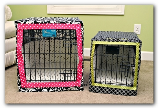 Recover dog crate to make it match your room decor