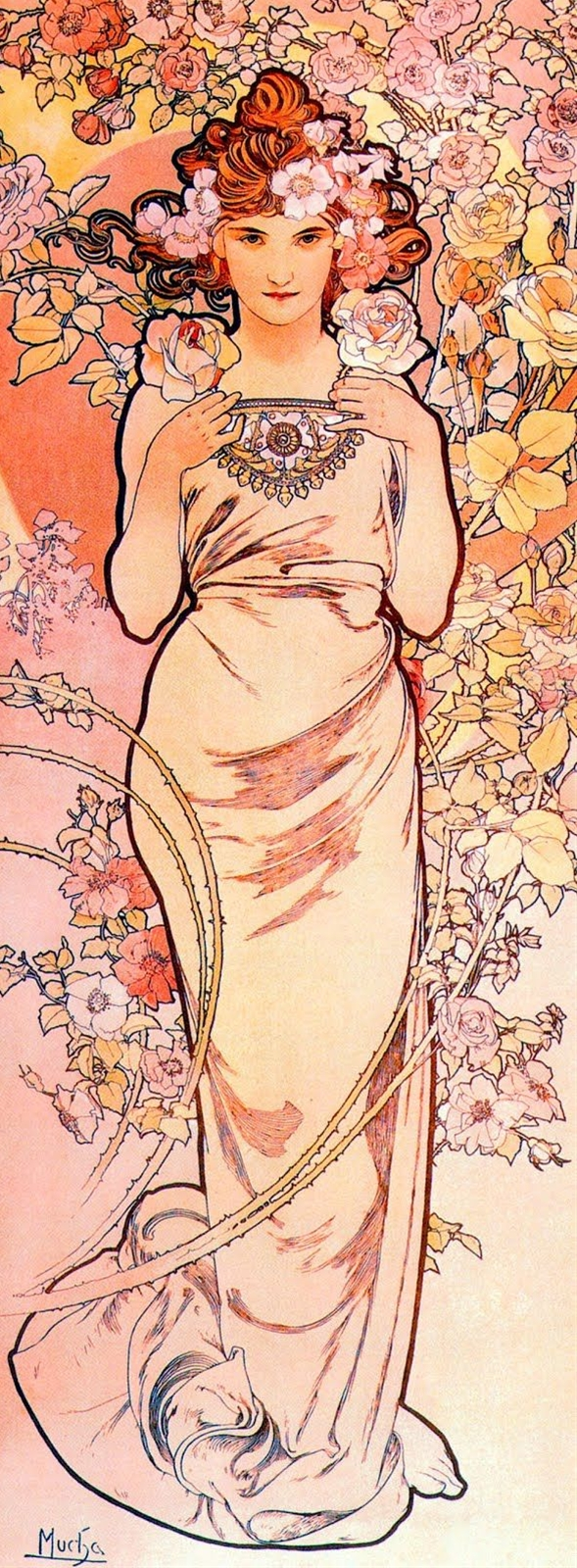 The Four Flowers: Rose by Alphonse Mucha