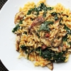 Skillet Pasta with Mushrooms, Pancetta, and Wilted Greens
