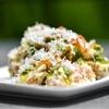 Fingerling Potato Salad with Aioli, Pesto, Fried Shallots, and Pecorino
