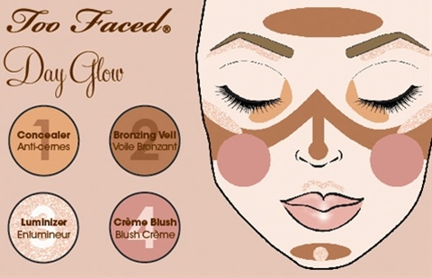 3 easy steps to create this Day Glow Look using Too Faced's Natural Face Natural Radiance Face Palette!