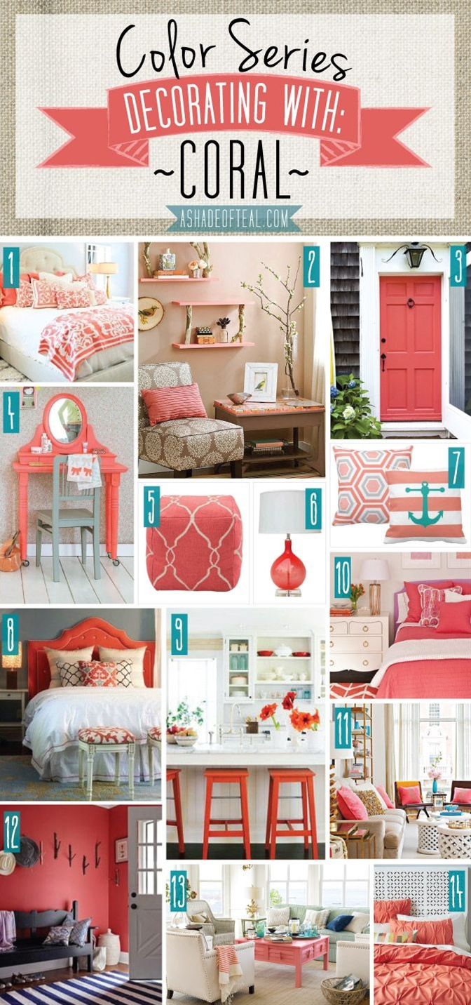 I love Coral! Here's a bunch of inspiration pics on how to incorporate Coral into your home decor.