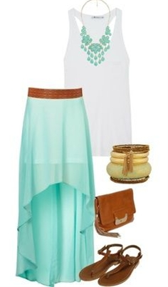 turquoise hi-low maxi skirt, plain white tank or t-shirt with brown accessories