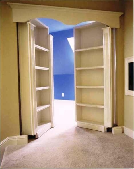 Secret room! Bookcases mounted on French doors
