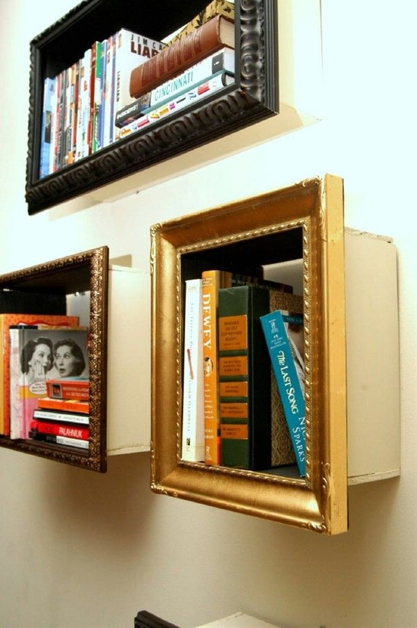 Some old picture frames and just a little time is all you need to create stunning and very unique bookshelves. You just have to build a small box that the frame can enclose and then attach everything together. This is a great idea for frames that you can find really cheap at flea markets and thrift stores and gives you a great way to display those favorite books.