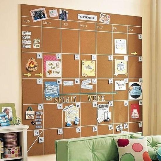 cork board schedule - keep in the spirit!