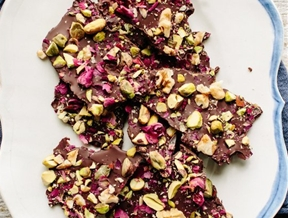 Recipe: Dark Chocolate Bark with Pistachios, Rose Petals & Walnuts — Passover Recipes from The Kitchn
