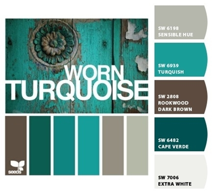 Worn Turquoise by Design Seeds, with color codes-color scheme for dining room - except through some red accents in there