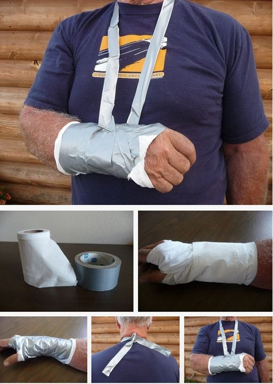 Set broken bones with toilet paper and duct tape. | 20 Easy Post-Apocalypse Life Hacks.  Set broken bones with toilet paper and duct tape.  Once you've set the bone, use these instructions to hold it in place until it heals.