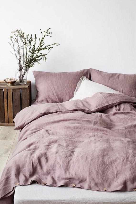 Washed linen sheets - He encontrado este interesante anuncio de Etsy en https://www.etsy.com/es/listing/227025232/ashes-of-roses-stone-washed-linen-duvet