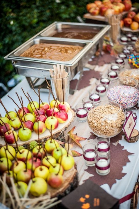 Fun idea for fall weddings: a make your own caramel apple bar!