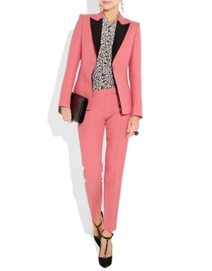 Two-Tone Twill Blazer & Cropped Pants in Bubblegum pink