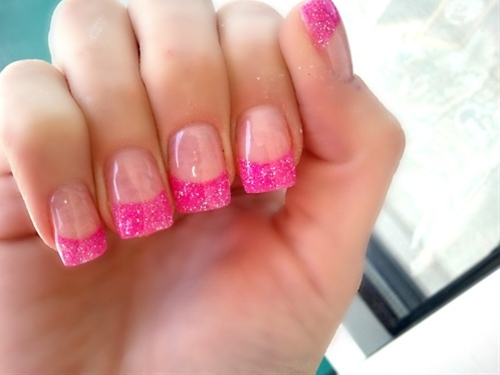 Pink Glitter Tip Acrylic Nails Hot Pink Acrylic Glitter Tips