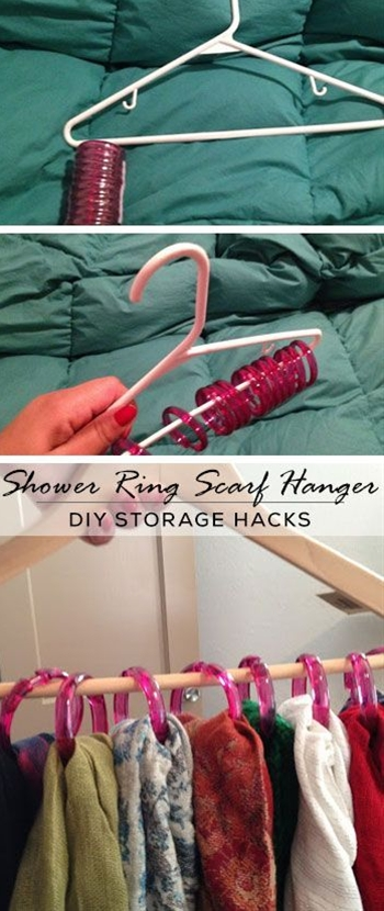 Organize your scarves (I have more than 20!) with these dollar store shower rings hung on hangers