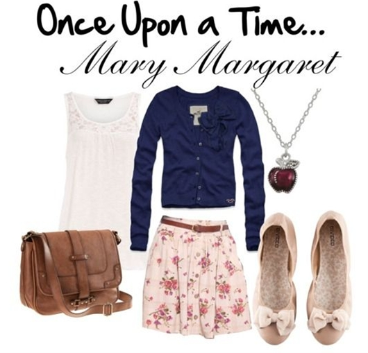 """Once Upon a Time: """"Mary Margaret (Snow White) is an endearing soul who loves to wear soft colors and lots of skirts with whimsical patterns.    For this outfit, I chose a lace top that can be layered with a navy blue cardigan with bow details. Next, I chose a floral skirt and beige/pink flats. When accessorized with an apple necklace and a leather satchel, you'll be ready to start singing with the animals in the forest and hanging out with your favorite seven dwarf friends."""""""