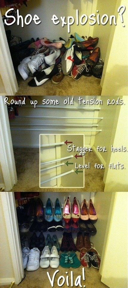 Tension rods are great for all types of organizing. They are perfect for closet floors if you want an inexpensive and easy way to organize your shoes. Just add various tension rods and secure them against the walls and then add your shoes. High heels stick perfectly on the rods and they are so inexpensive that you can add as many as you need without breaking the bank.