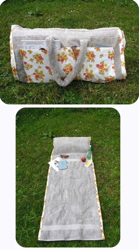Brilliant and easy to wash! Must make this if you love sunbathing, DIY Repurposed Towel – The Sunbathing Companion
