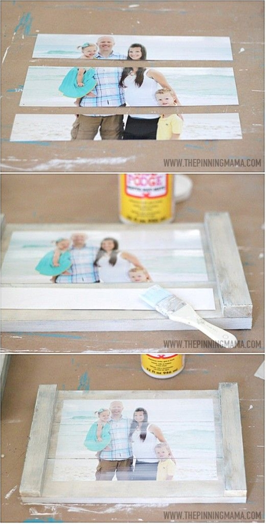 Quick & Easy DIY Planked Picture Frame\n\n WHAT YOU NEED FOR THIS PROJECT:\n  1- 8×10 Photo – I ordered from Shutterfly\n 3 – 1×4″ boards cut to 14″ in length\n 2 – 1/2 x1″ boards cut to the total width of your 3 boards (approx 10.5″) in length\n Paint or stain\n Liquid nails\n Matte Modge Podge\n Scissors