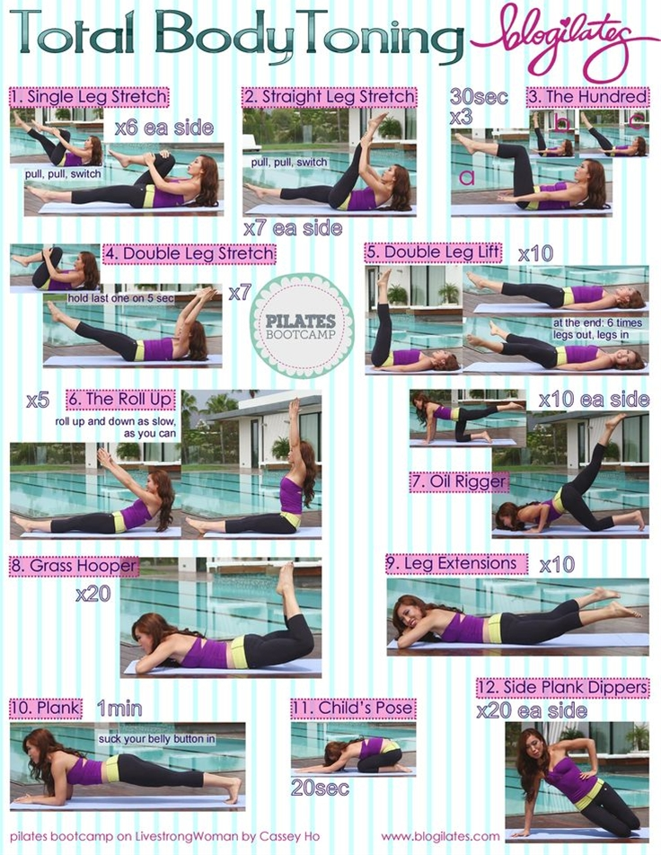 Total Body Toning Printable! Pilates Bootcamp. Print this and take it with you to the gym when you don't have YouTube!