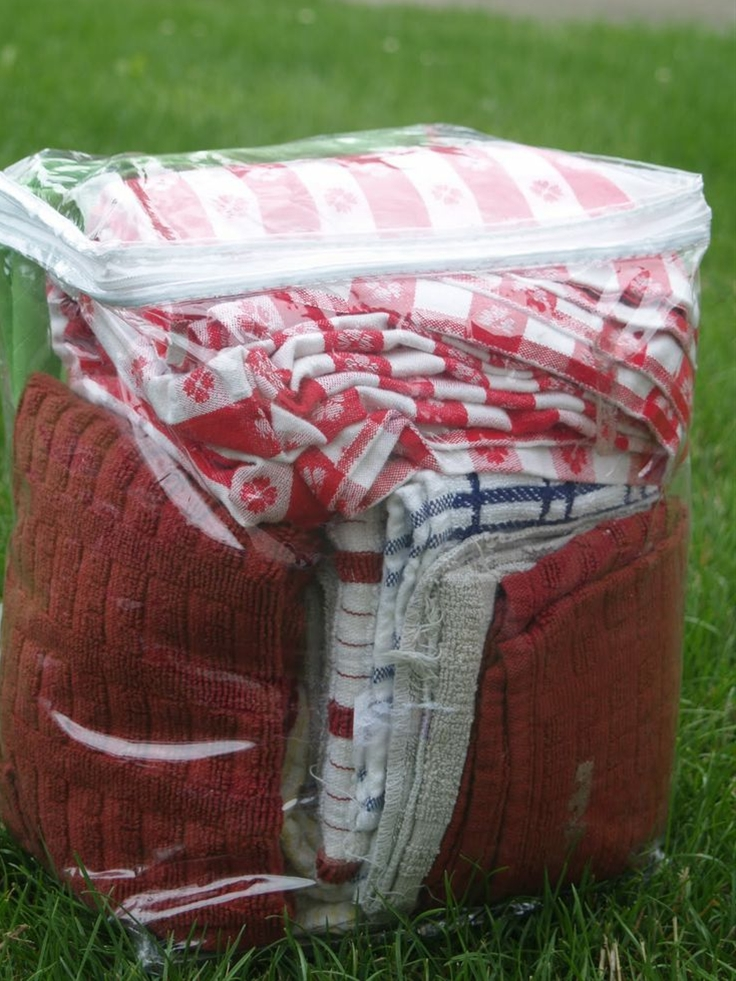 buy the Dollar Store bedding bags to keep towels, etc together, and keep camp dust off