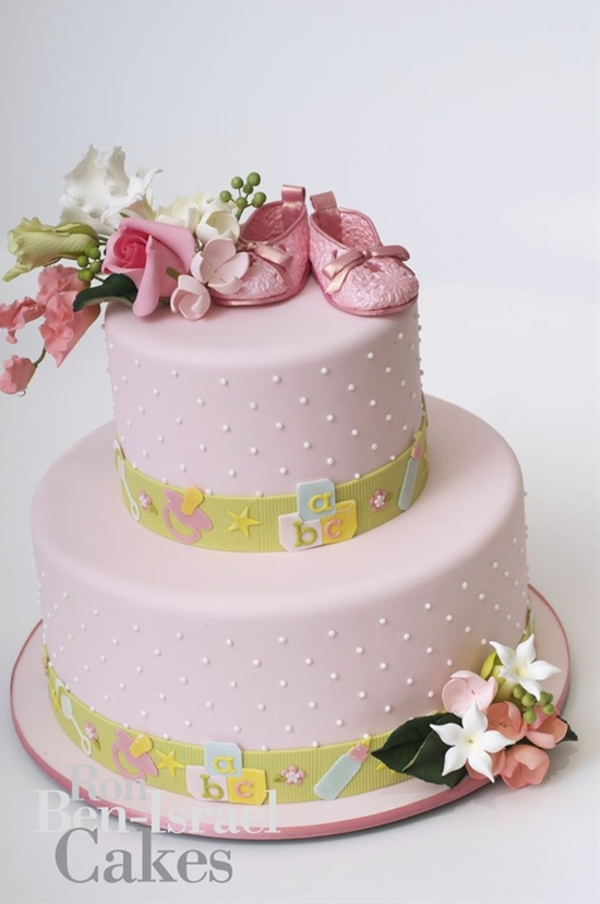 Elegant Pink baby shower cake.