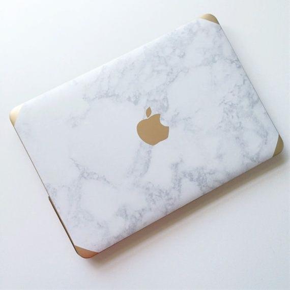 Marble + gold laptop case.