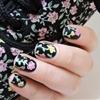 Black floral nails