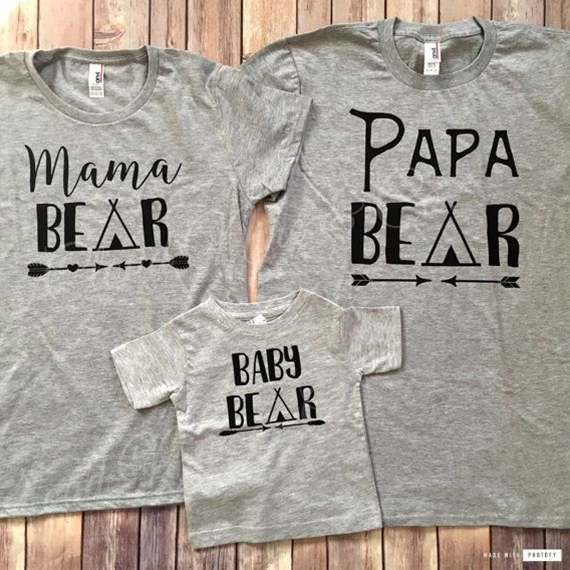 Matt Size- M Liz - M Baby -Newborn This adorable family bear set is just what you need! The set comes in standard heather grey unless you request otherwise by sending me a