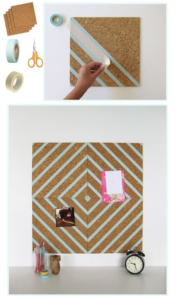 If you haven't discovered washi tape yet, you've been missing out. It's colorful, it comes in a bunch of fun patterns, and it's easily removable. Use it to decorate your wall, mirrors, windows, or this adorable pin board!