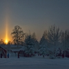 "A sun pillar over Sweden "" Have you ever seen a sun pillar? When the air is cold and the Sun is rising or setting, falling ice crystals can reflect sunlight and create an unusual column of light. Ice..."