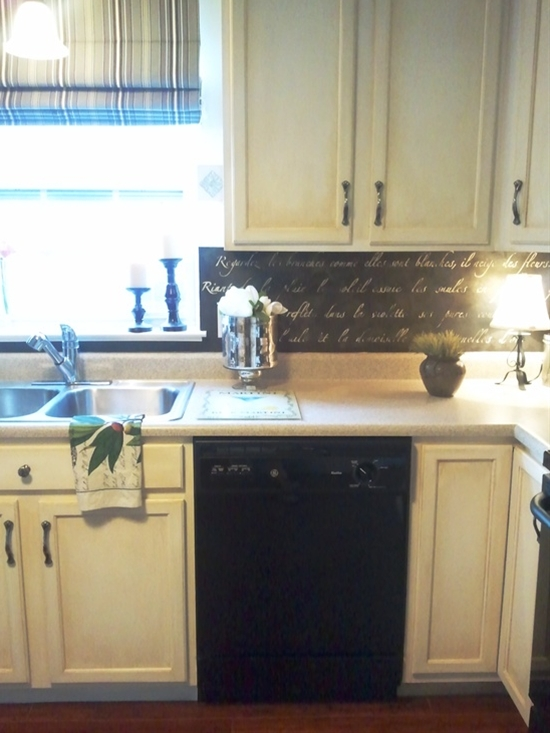 "My backsplash project.    Stencil from Royal Design Studio, called ""Springtime in Paris"""