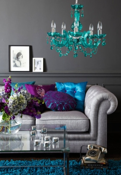 purple teal and silver living room.
