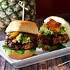 Mini Pineapple-Teriyaki-Glazed Salmon Burgers With Avocado