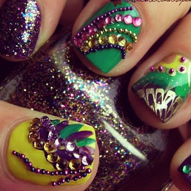 Mardi gras nails fit for a queen!