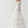 Graceful Strapless Lace Scattered Layered Wedding Gown