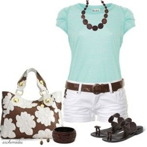 cute summer outfits, Aqua and Chocolate combination