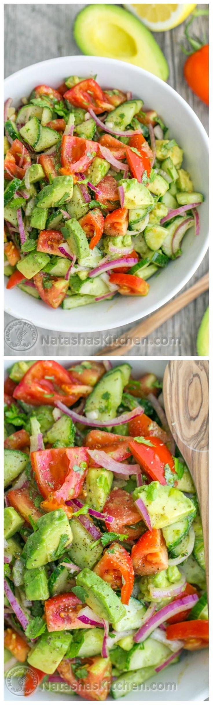 This Cucumber Tomato Avocado Salad recipe is a keeper! Easy, Excellent Salad\n\n Ingredients for Tomato Avocado Salad:\n  1 lb Roma tomatoes\n 1 English cucumber\n 1/2 medium red onion, sliced\n 2 avocados, diced\n 2 Tbsp extra virgin olive oil or sunflower oil\n Juice of 1 medium lemon (about 2 Tbsp)\n 1/4 cup (1/2 bunch) cilantro, chopped\n 1 tsp sea salt or 3/4 tsp table salt\n 1/8 tsp black pepper
