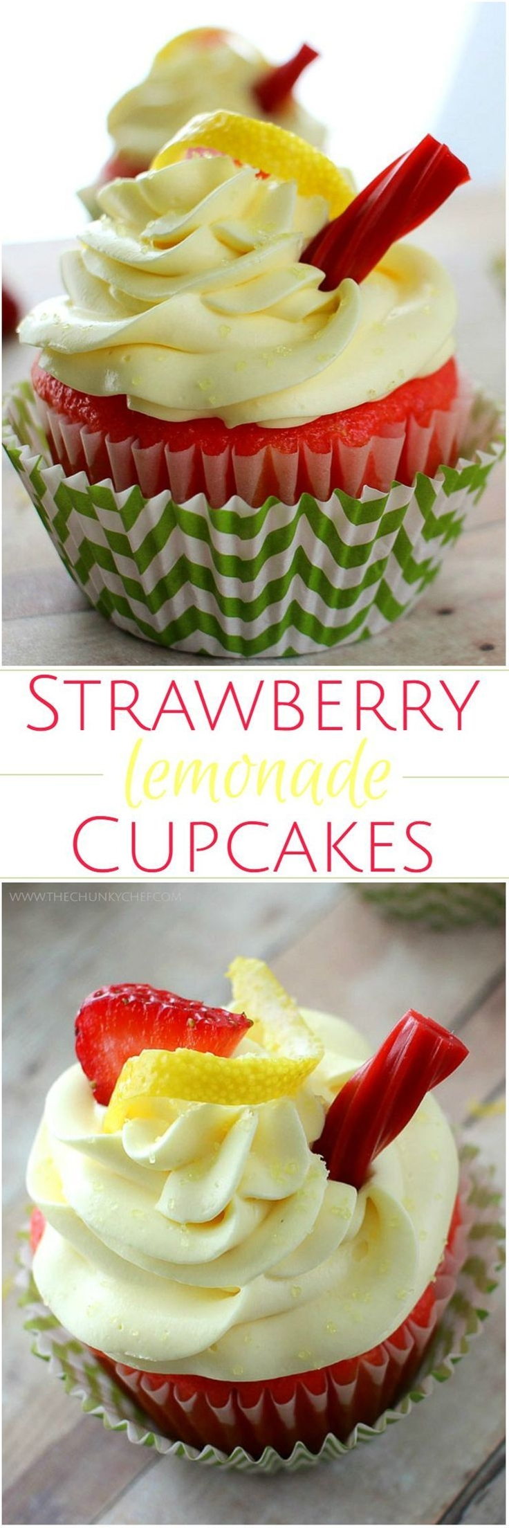 """You have to try these strawberry lemonade cupcakes! It's like taking a bite out of summer :)\n\n INGREDIENTS\n Box of strawberry cake mix (plus milk, eggs and oil, as indicated on the box)\n 1/2 packet Jell-O vanilla pudding mix\n 2 tsp strawberry Kool-Aid drink mix\n\n FOR THE FROSTING:\n 12oz. Philadelphia Cream Cheese, softened (1 1/2 packages)\n 1 cup powdered sugar\n 2 Tbsp heavy cream\n 1 packet lemonade Kool-Aid drink mix (you won't be using the whole packet, start with about 1/2 tsp and adjust from there after tasting)\n Yellow food coloring, optional\n 16 oz. Cool Whip frozen topping, thawed\n Fresh strawberries, sliced, for decoration\n Lemon rind, for decoration\n Strawberry licorice twist, cut into 3"""" sections, for decoration"""