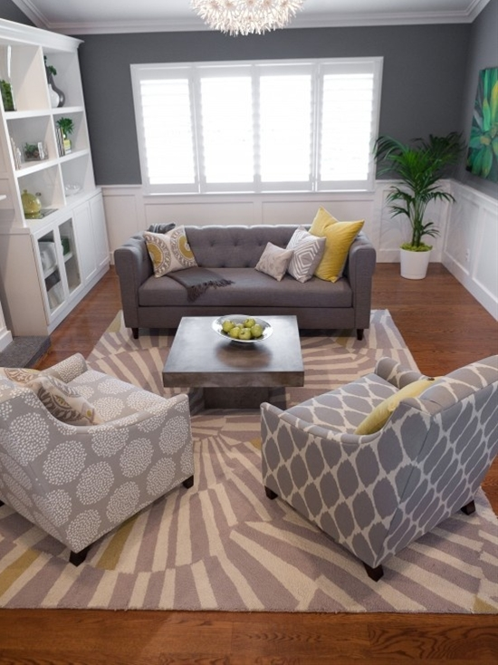LOVE the gray with yellow accents. As you start your living room remodel, think about the space's overall purpose. If it's going to have a more formal feel, adding an elegant fireplace mantel might be a worthy investment, while a built-in TV console would work best in a more low-key setting.