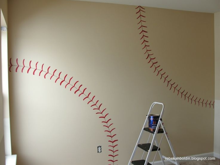 Take Me Out to the Ball Game! I don't really want to do a themed room but I think daddy would really like this.