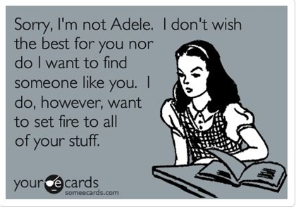 Sorry, I'm not Adele. I don't wish the best for you nor do I want to find someone like you. I do, however, want to set fire to all of your stuff. ~This is too funny~