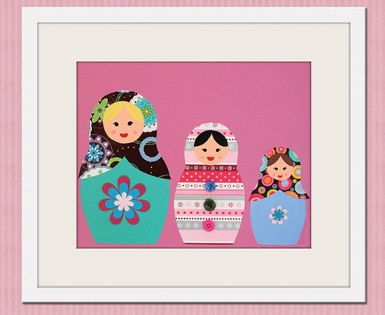 Nursery art print. Matryoshka Dolls Print girls. 8x10 Babushka, Russian Dolls in pink. Child baby artwork, kids wall art rooms & playroom