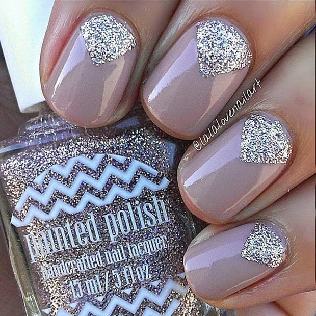Adding glitter to dark nude nails can make the nude look so different and stylish. Nude nails have been trending for a while and when teamed with this glitter cuticle design, they look amazing.