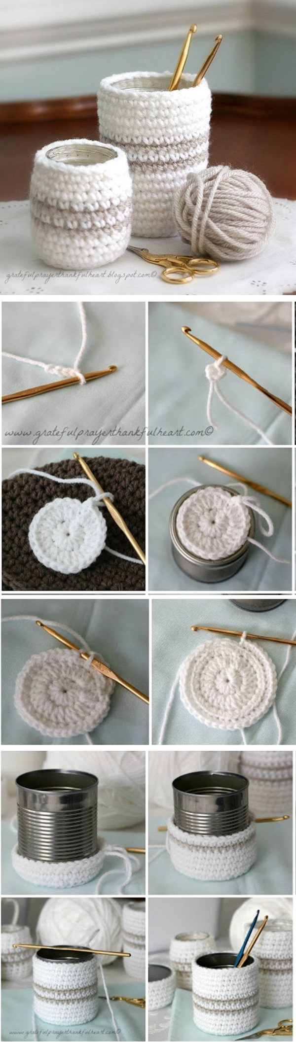 A cup or jar cozy keeps drinks in cups warm and protect fingers from the heat. Make this cute cozy in 30 minutes! It could make a super fun gift too!