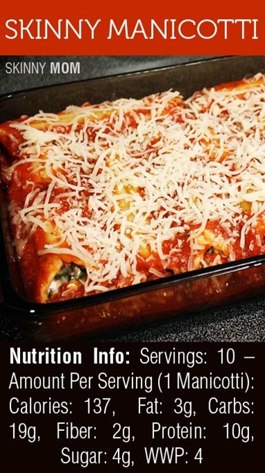 Ingredients:  10 manicotti noodles,  2 Tbsp shredded Parmesan cheese,  2 cups low-sugar pasta sauce,  10 oz frozen spinach, thawed + drained,  1 cup low-fat cottage cheese,  ¾ cup low-moisture, part-skim, shredded,  Mozzarella cheese,  1 egg white,  1 tsp garlic powder.