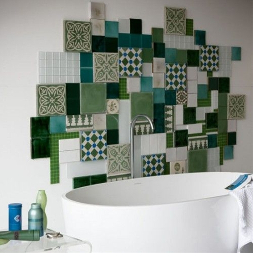 I think you could do a similar style with tiles and put them up yourself. Adds so much color to the room
