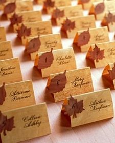 Neat idea for rustic or fall weddings using wood veneers