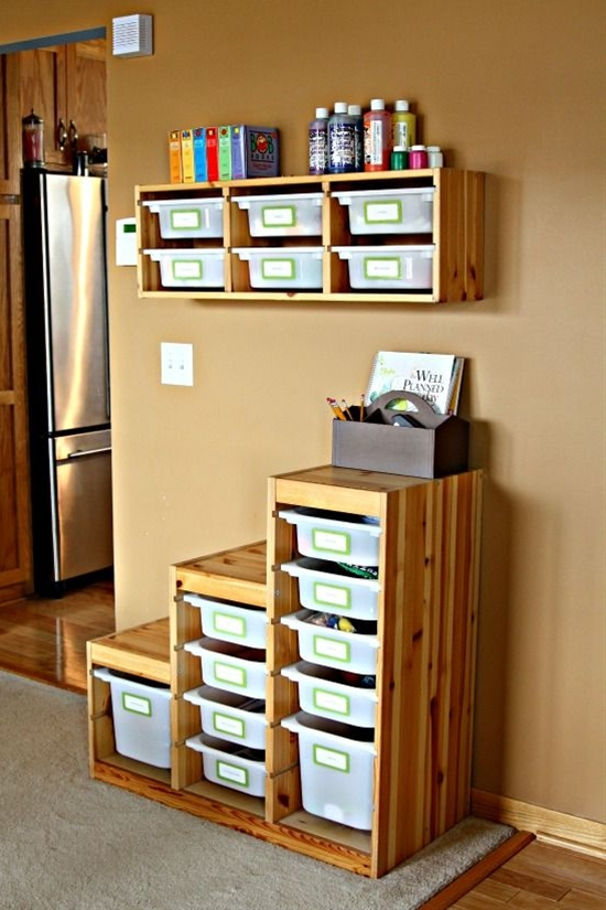 This would work great for any kid-related area, and the Trofast and Expedit from IKEA are two of my favorites!